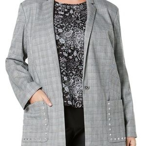 Michael Kors Glen Plaid Business One-Button Blazer